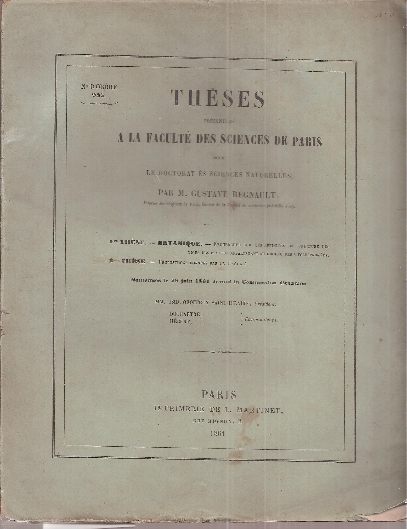 Theses presentees a la Faculte des Sciences: Regnault,Gustave