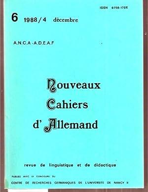 Revue de linguistique et de didactique. Jahrgang: Nouveaux Cahiers d'Allemand