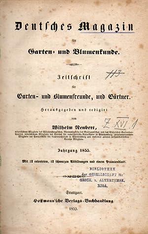 Jg.1855 (m. Beschreibung und Abb. eines Kaktus): Deutsches Magazin für Garten-und Blumenkunde