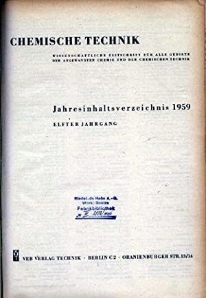 11. Jg. 1959 (in einem Band): Kammer der Technik / Chemische Technik
