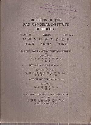 Volume VII 1933 (Botany) Number 2: Fan Memorial Institute