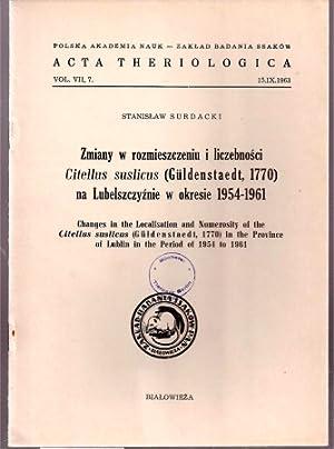 Zmiany w rozmieszczeniu i liczebnosci Citellus suslicus: Surdacki,Stanislaw