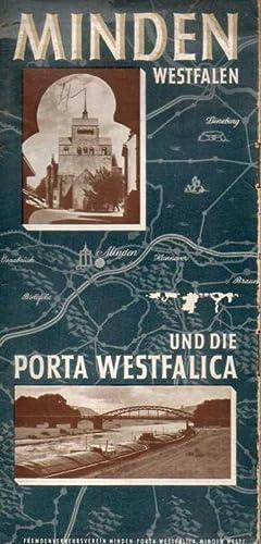 Faltprospekt mit Stadtplan u.Gaststätten-Verzeichnis: Minden(Westf.)und die Porta