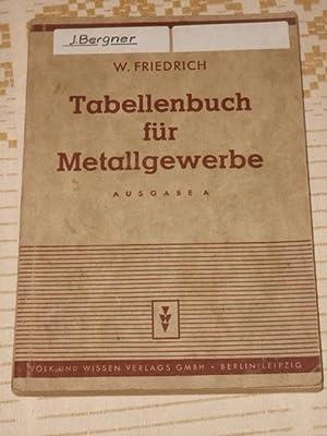 Tabellenbuch für Metallgewerbe zum Unterricht in Fachkunde,: Friedrich, Wilhelm: