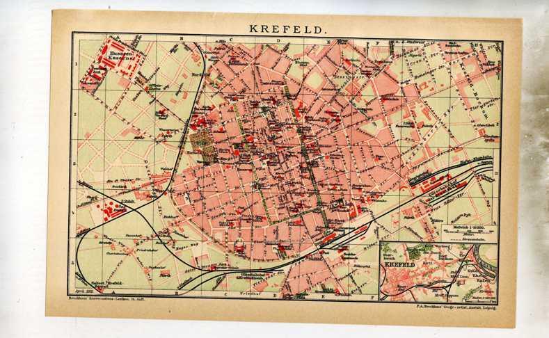 Krefeld. 1 alter Orig.- Stadtplan von NRW: F.A.Brockhaus ...