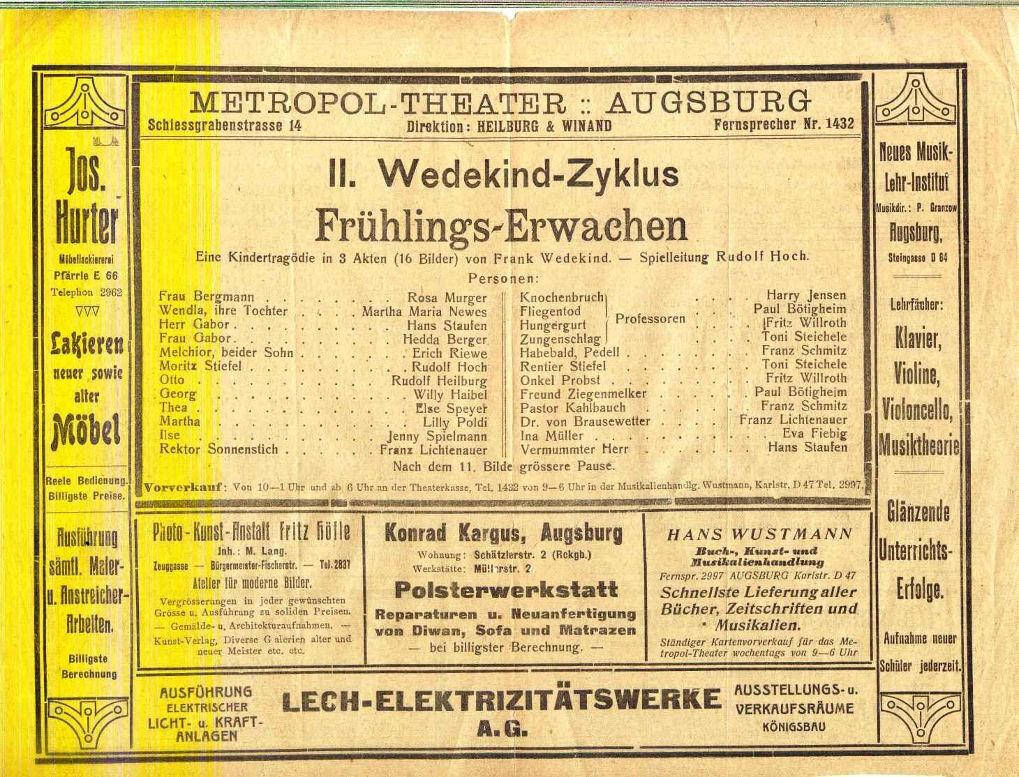 """Programm zu """" Frühlings-Erwachen """". Eine Kindertragödie: Metropol - Theater"""