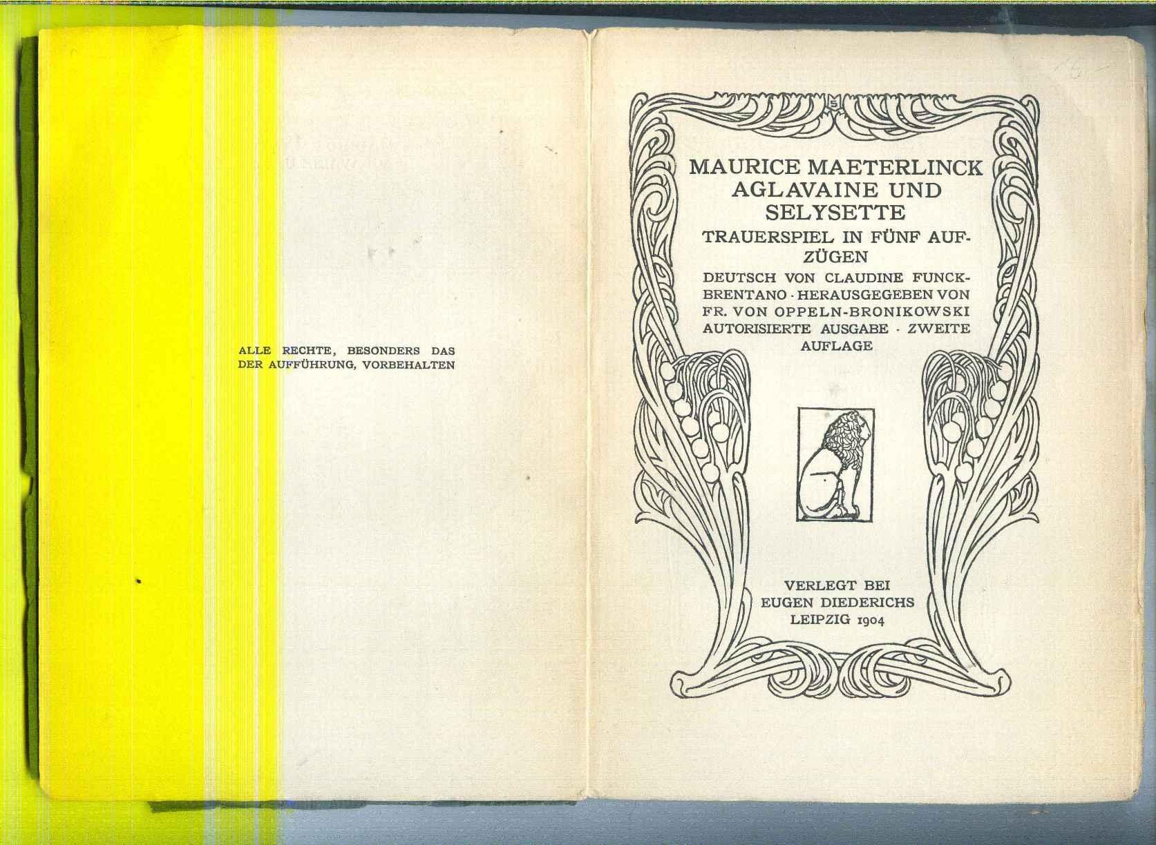 Aglavaine und Selysette. Trauerspiel in fünf Aufzügen.: Maeterlinck, Maurice