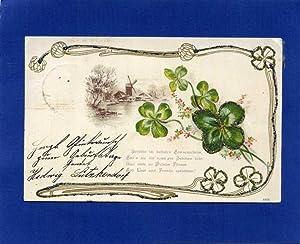 Kleeblätter mit Windmühle.: Jugendstil-Postkarte )