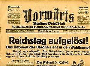 Vorwärts. Berliner Volksblatt. Zentralorgan der Sozialdemokratischen Partei Deutschlands.: ...