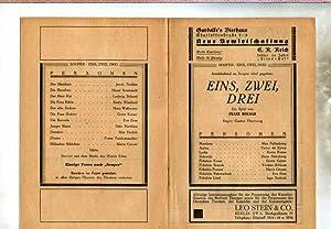 """Programmheft zu """" Eins, Zwei, Drei """". Ein Spiel von Franz Molnar. Vorher wird gegeben: &..."""