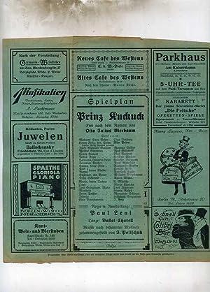 Prinz Kuckuck: Spielplan der Marmorhaus-Lichtspiele am Kurfürstendamm 256 in Berlin