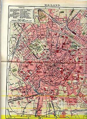 Mailand. 1 alter Orig.- Stadtplan von Italien: Brockhaus ...