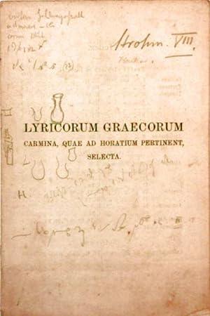 Lyricorum graecorum - Carmina, Quae Ad Horatium: Teubner Verlag (Herausgeber):