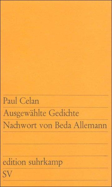 Ausgewählte Gedichte: Zwei Reden (edition suhrkamp): Celan, Paul: