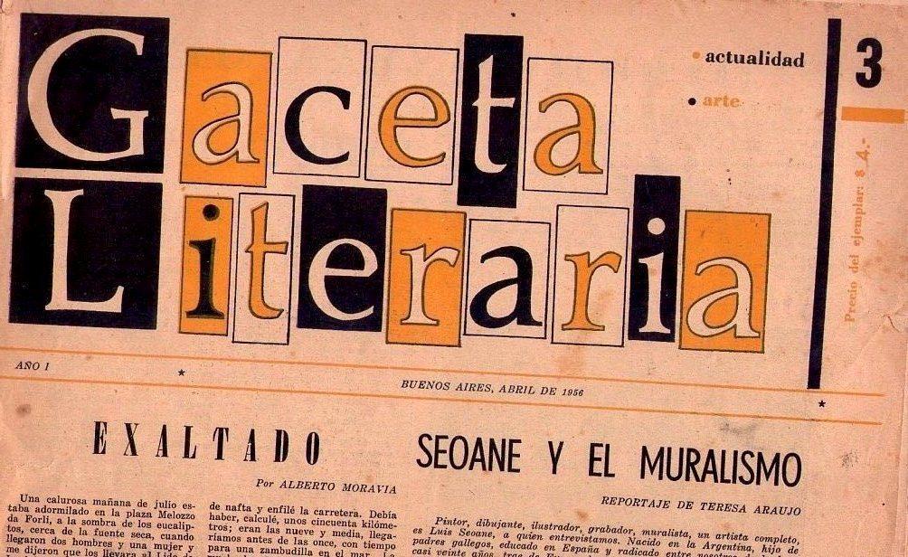 Gaceta Literaria No 3 Ano I Abril 1956 Seoane Y El Muralismo