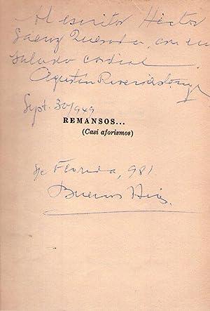 REMANSOS. Casi aforismos [Firmado / Signed]: Rivero Astengo, Agustin