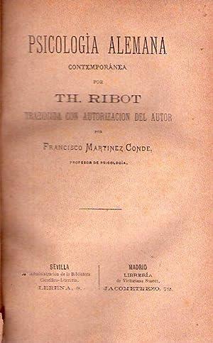 PSICOLOGIA ALEMANA CONTEMPORANEA. Traducida con autorización del autor por Francisco Mart&...