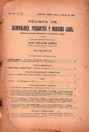 REVISTA DE CRIMINOLOGIA, PSIQUIATRIA Y MEDICINA LEGAL - No. 115 - Año XX. Enero - febrero de...