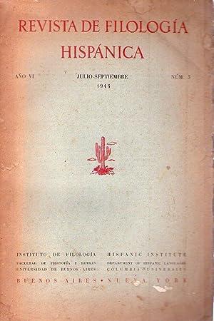 REVISTA DE FILOLOGIA HISPANICA - No. 3 - Año VI, julio septiembre de 1944: Alonso, Amado (...