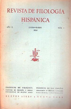 REVISTA DE FILOLOGIA HISPANICA - No. 1 - Año II, enero marzo de 1940: Alonso, Amado (Director)
