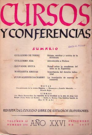 CURSOS Y CONFERENCIAS - No. 278. Año XXVI. Volumen LI, setiembre de 1957. (La expresi&oacute...