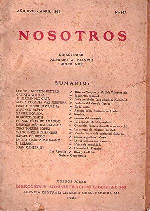 NOSOTROS - No. 167. Año XVII, abril de 1923 (Poesias por Xavier Bóveda): Bianchi, ...