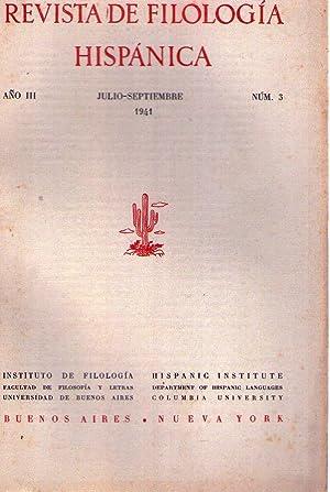 REVISTA DE FILOLOGIA HISPANICA - No. 3 - Año III, julio septiembre de 1941: Alonso, Amado (...
