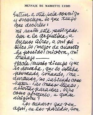 MENSAJE DE MARIETTE LYDIS): Lydis, Mariette