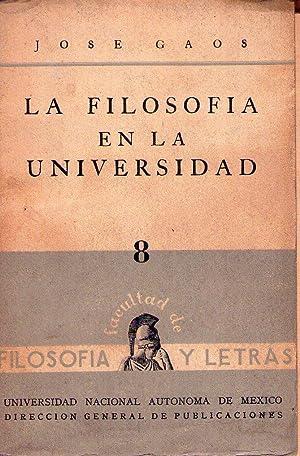 LA FILOSOFIA EN LA UNIVERSIDAD: Gaos, Jose