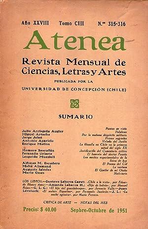 ATENEA - No. 315 - 316 - Año XXVIII, tomo CIII, septiembre octubre de 1951: Molina, Enrique ...