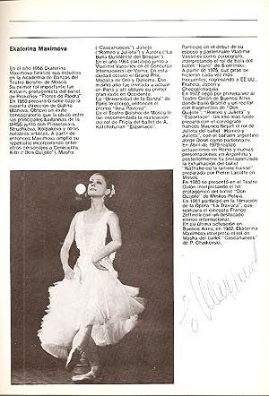 AUTOGRAPHED TEATRO COLON Ballet program, Buenos Aires, 1983 (HOMENAJE A ULANOVA y FRAGMENTOS DE UNA...