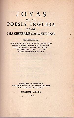 JOYAS DE LA POESIA INGLESA DESDE SHAKESPEARE HASTA KIPLING / GEMS OF ENGLISH POETRY FROM ...