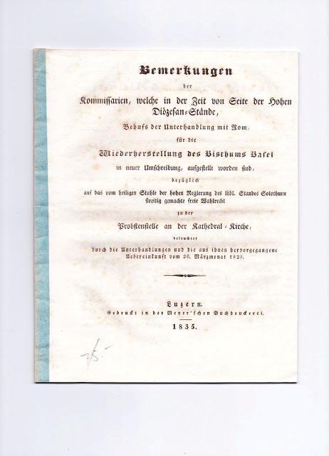 Bemerkungen der Kommissarien, welche in der Zeit: Amrhyn, Joseph Carl