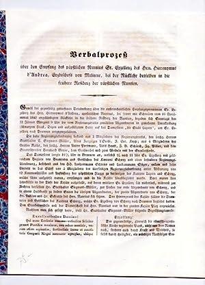 Verbalprozess über den Empfang des päpstlichen Nuntius Hieronymus d'Andrea, Erzbischofs von ...