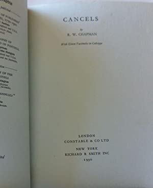 CANCELS / With Eleven Facsimiles in Collotype. A volume in the series: Bibliographia / ...