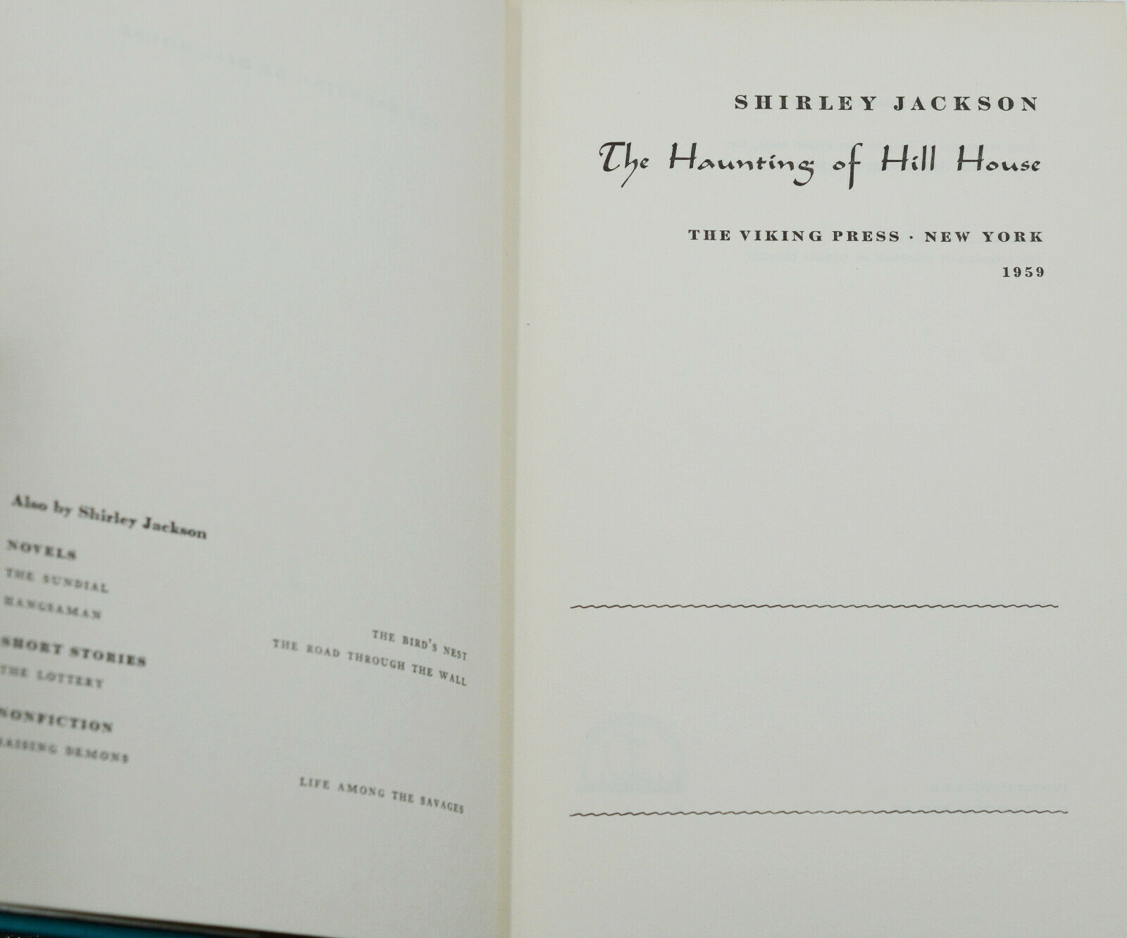 The Haunting Of Hill House By Jackson Shirley Very Good 1959 First Edition Burnside Rare Books Abaa