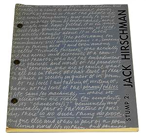 Stump 2: Jack Hirschman Issue: Hirschman, Jack; Dana Ciccone, Doug Knapp, Chuck Naccarato, Jerry ...