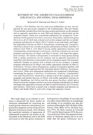 Revision of the American Callianassidae (Crustacea: Decapoda: Manning, Raymond B.;