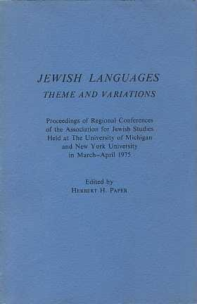 JEWISH LANGUAGES: THEME AND VARIATIONS: Paper, Herbert H