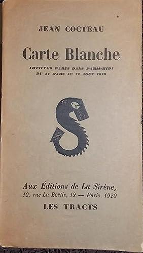 Carte Blanche.: COCTEAU (Jean)