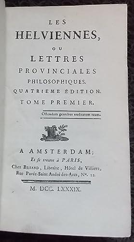 Les Helviennes, ou lettres provinciales philosophiques.: BARRUEL (Augustin)]