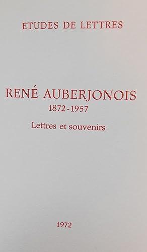 Lettres et souvenirs.: AUBERJONOIS (Ren�)
