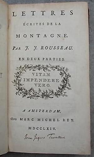 Lettres écrites de la montagne.: ROUSSEAU (Jean-Jacques)