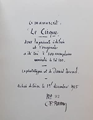 Le cirque.: RAMUZ (Charles Ferdinand)