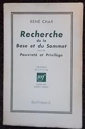 Recherche de la Base et du Sommet,: CHAR (René)