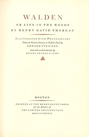 WALDEN, OR LIFE IN THE WOODS.; Introduction: STEICHEN]. Thoreau, Henry