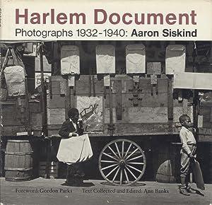 HARLEM DOCUMENT: PHOTOGRAPHS 1932-1940; Foreword by Gordon: Siskind, Aaron