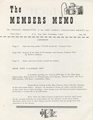 THE MEMBERS MEMO: THE OFFICIAL NEWSLETTER OF THE OHIO CAMERA COLLECTORS SOCIETY