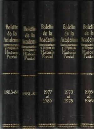 Boletin de la Academia Iberoamericana y Filipina de Historia Postal. 5 tomos: I, del 1959 al 1969, ...