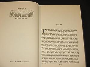De Aneurysmatibus. Opus Posthumum: Aneurysms. The Latin Text of Rome, 1745.: Giovanni Maria Lancisi...